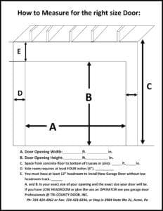 Garage Door Measure Form Tri County Home Improvements